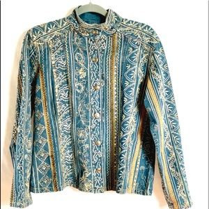Chico's embroidered gold and denim jacket